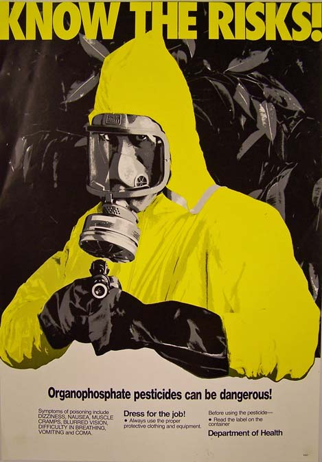 """Know the risks! Organophosphate pesticides can be dangerous!"" poster (1981). New Zealand Department of Health. Collection of Puke Ariki (A62.748)."