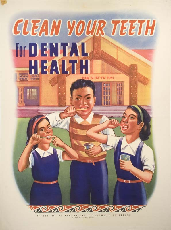 """Clean Your Teeth for Dental Health"" poster (1950s). New Zealand Department of Health. Collection of Puke Ariki (A58.332)."