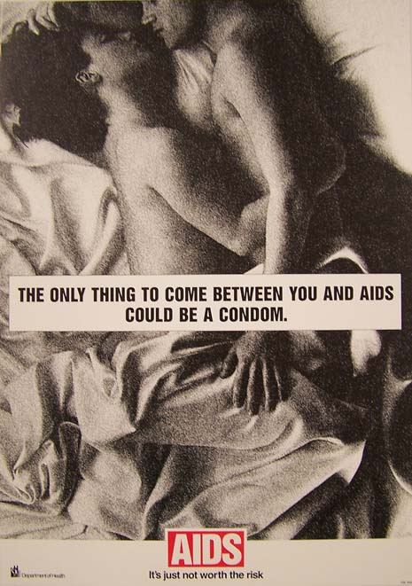 """The only thing to come between you and AIDS is a condom"" poster (1992). New Zealand Department of Heath. Collection of Puke Ariki (A62.731)."