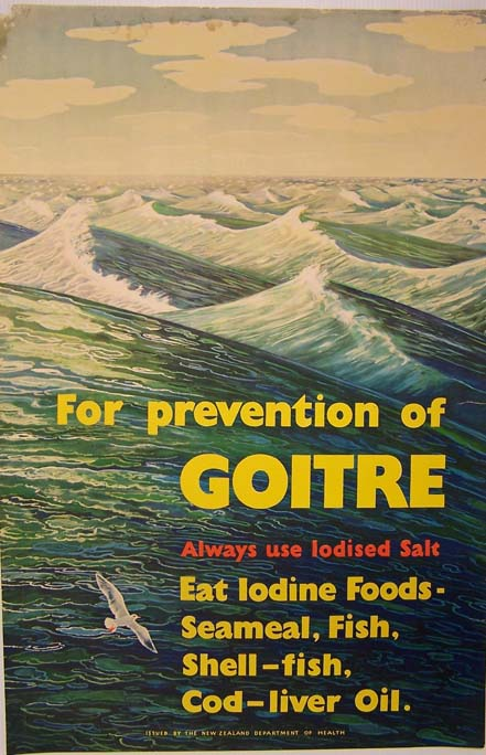 """For Prevention of Goitre"" poster (1950s). New Zealand Department of Health. Collection of Puke Ariki (A62.766)."